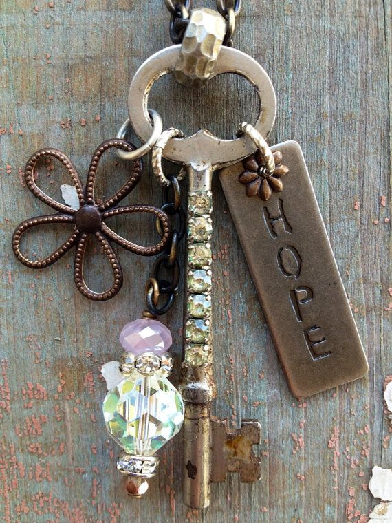 Hope+Vintage+Key+Necklace+by+BelleVia+on+Etsy