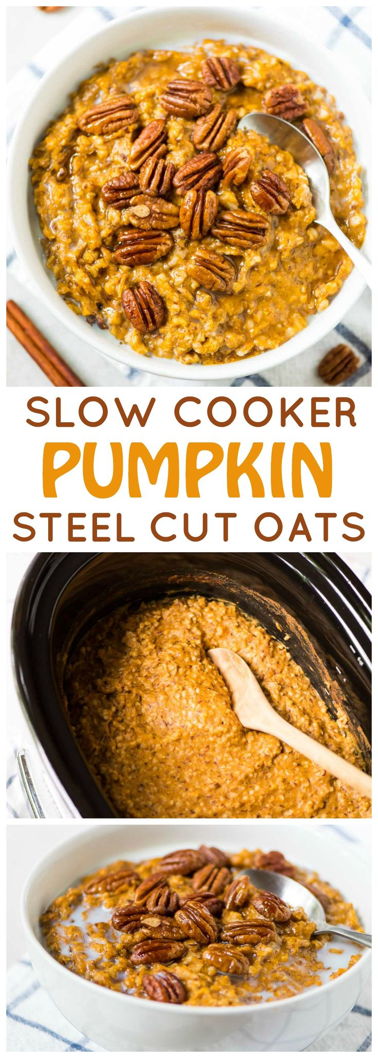 Pumpkin Overnight Oats ~ healthy crock pot steel cut oats made with warm spices, pumpkin and maple syrup. This recipe is easy to throw in the slow cooker before bed for an effortless breakfast that can last all week or feed a crowd! Recipe at wellplated.com | @wellplated