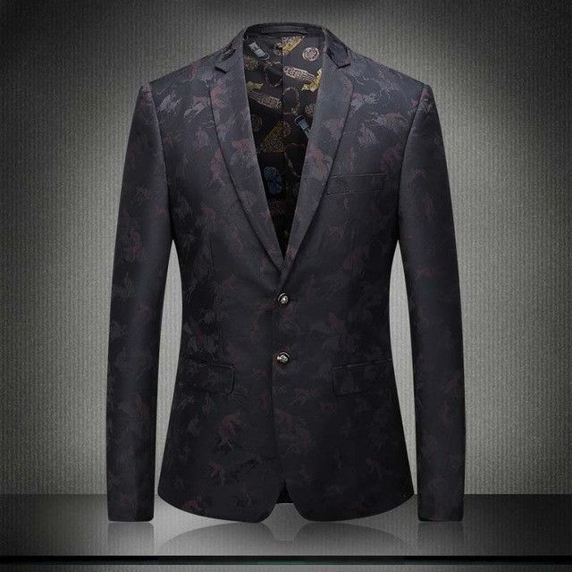 Envmenst 2017 Top Men's Luxury Blazer Boutique Men Floral Suit Jacket Groom Wedding Dress Blazer Plus Size M-5XL