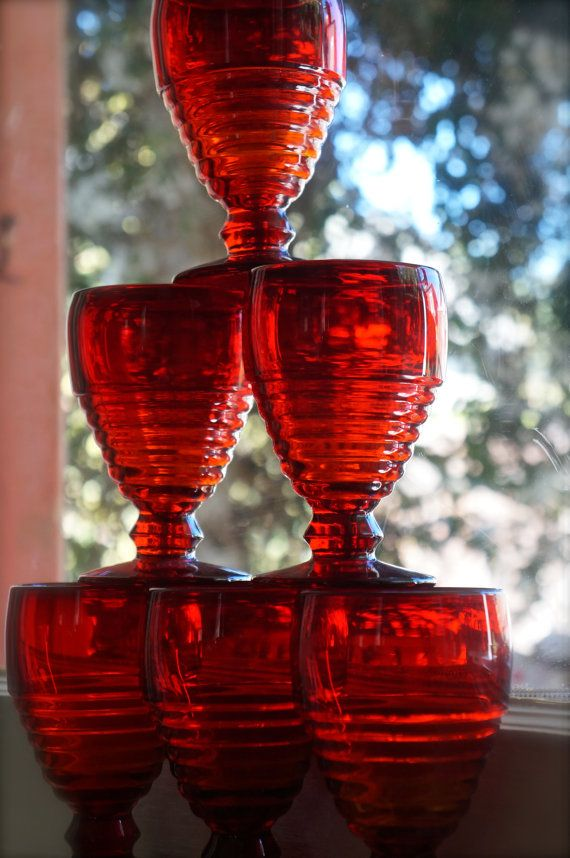 Red depression glass water goblets