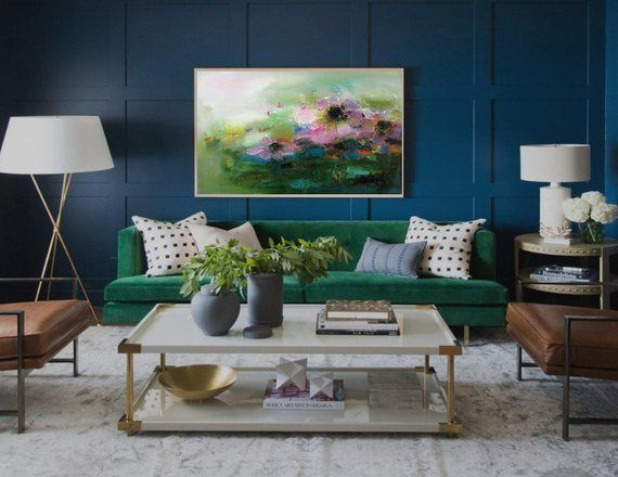 Pink Flowers Abstract Landscape Wall Art Print Bedroom Wall Etsy In 2021 Living Room Green Living Room Paint Green Rooms Decoration living room colorful green