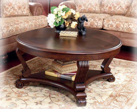 Brookfield Traditional Dark Rustic Wood Coffee Table Set