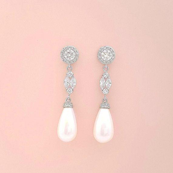 Bruids parel oorbellen bruids juwelen Cubic door poetryjewelry