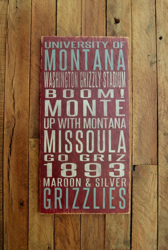 University of Montana Grizzlies Distressed Wood by SportsSigns