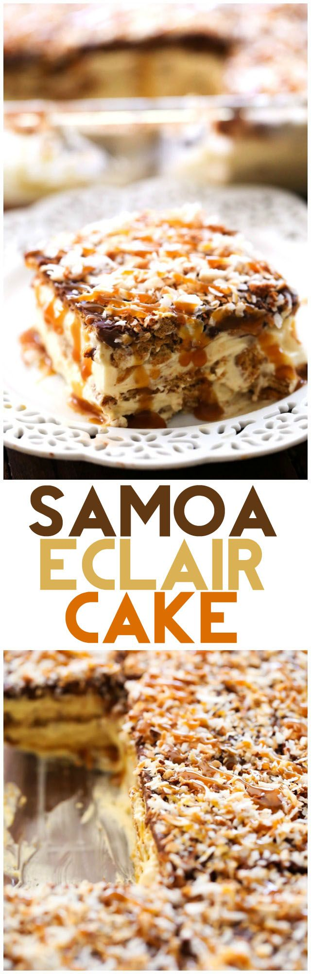No Bake Samoa Eclair Cake - This dessert has layers of creamy, chocolate caramel graham cracker heaven! One of the BEST desserts I have ever had!