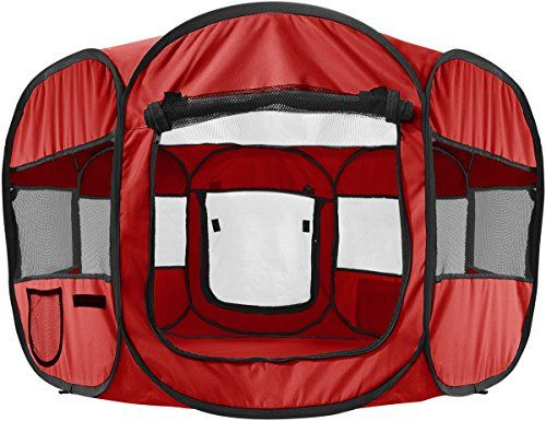 "Oxgord 8-Panel Pop-Up Tent with Carry Bag Portable PlayPen for Pets, 48 by 48 by 25"", Red *** You can get additional details at the image link."