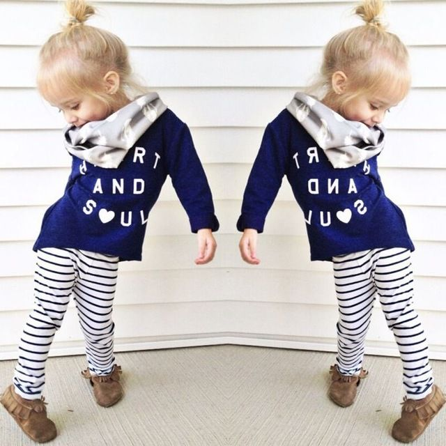 Kids Herfst Kleding 2016 Baby Meisjes Lange Mouwen Katoenen Shirt Blouse Gestreepte Leggings Outfits