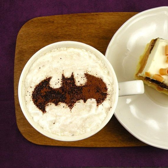 Batman coffee stencils make latte art easy.