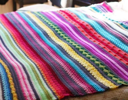 радужное одеяло крючком