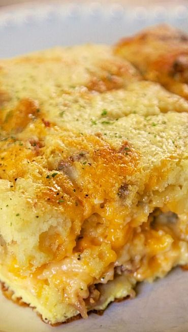 Meat Lovers Puff Pancake Breakfast Casserole Recipe ~ Says:  Feel free to mix up the meats, add veggies or change up the cheeses. This is a really good base recipe to have fun with.