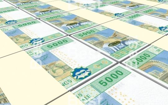 Central African CFA francs bills stacked background