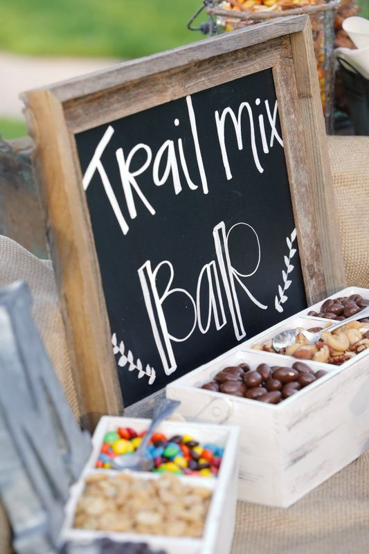 Such a cute idea for a pre-ceremony cocktail hour: Trail mix bar!