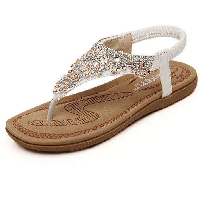 Insun Damen Sandalen Sommer Flip Flops Böhmische Stil Flache Schuhe Strass Flats Strand Peep Toe Sandalen Blau 36 yEj7eGiF4m