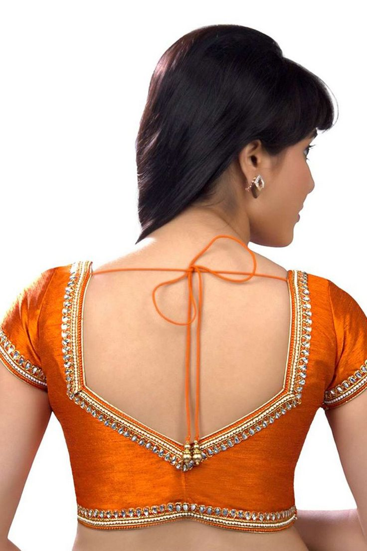 #Orange embroidered raw silk #festive wear #blouse with cap sleeves -BL616