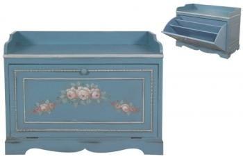 Παπουτσοθήκη πατίνα γαλάζια με ζωγραφική