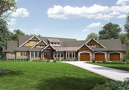 Amazing One Level Craftsman House Plan - 23568JD | Craftsman, Northwest, Luxury, Photo Gallery, Premium Collection, 1st Floor Master Suite, Butler Walk-in Pantry, CAD Available, Den-Office-Library-Study, Jack & Jill Bath, Media-Game-Home Theater, PDF | Architectural Designs