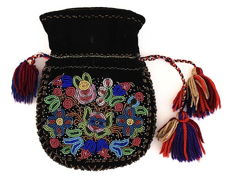 Métis Beaded Black Velvet Drawstring Bag, side one  from the Museum of Natural and Cultural History