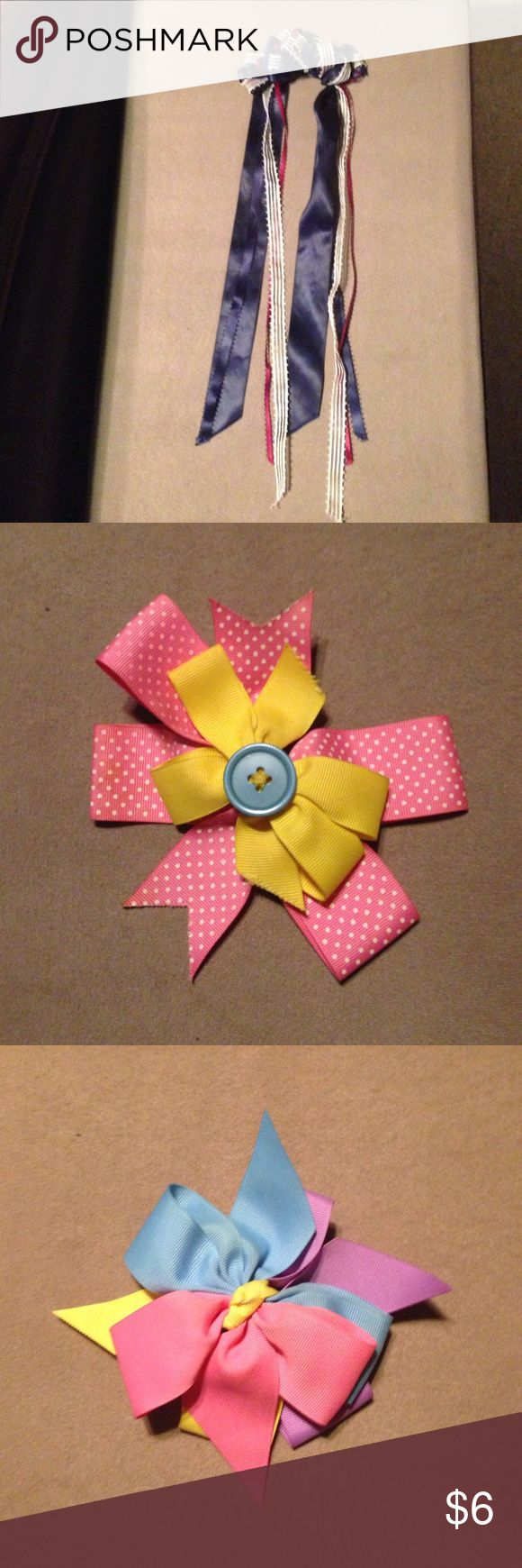 Handmade Burgundy, navy & ivory ribboned hair bow - 1 ; pink polka dot, yellow and teal buttoned hair bow - 1 ; purple, blue, yellow & pink ridged ribbon hair clip - 1 ; red apple and watermelon ceramic & adorned hair clip - 1 Accessories Hair Accessories