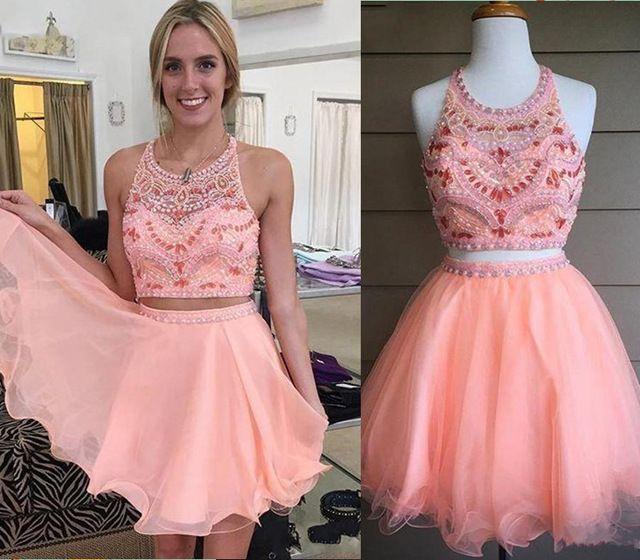 2016 Short Tutu Two Piece Prom Dresses for Teens Pink Ruffles Party Dress With Rhinestone Vestidos de Festa Curtos Noite