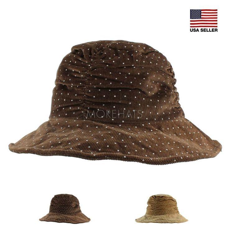 Polka Dot Corduroy Cotton Warm Fall Winter Bucket Cap Travel Packable Fold Hat #Morehats #Bucket