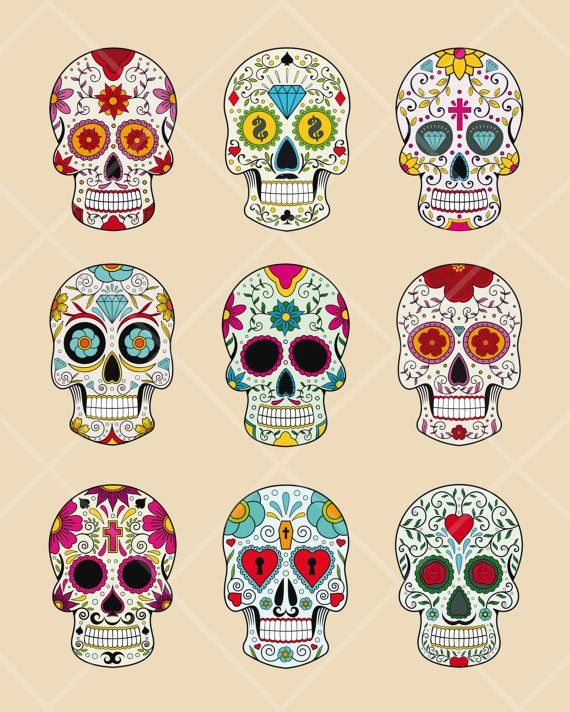 INSTANT DOWNLOAD Sugar Skull Digital Clipart, Day of the Dead Clip Art, Halloween, Papel Picado Commercial Use