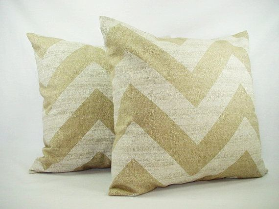 set of two chevron throw pillow covers beige and white 18 x 18 inches couch