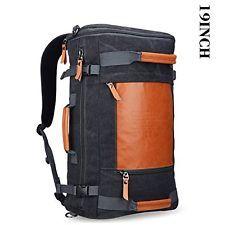 Mens Retro Canvas Duffel Travel Rucksack Backpack 19 In Black Bag Carry On Black