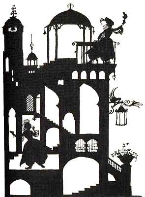 Rackham's Bluebeard - silhouettes (http://www.surlalunefairytales.com/illustrations/bluebeard/rackhamblue3.html)