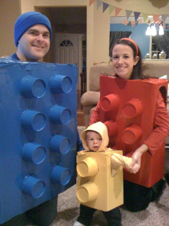 Lego Halloween costume made out of cardboard boxes and paper soup cups.