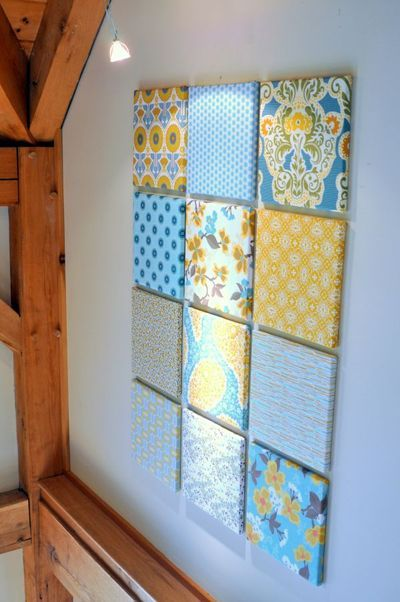 Use fabric on canvas or shoe box lids as wall art.