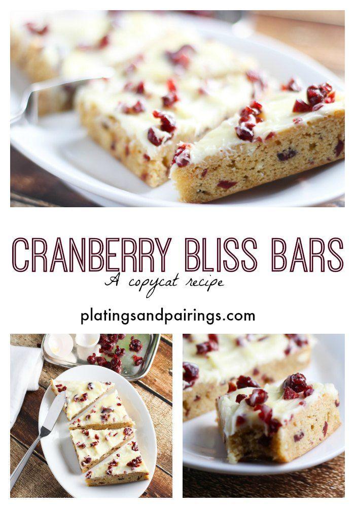 Cranberry Bliss Bars - A Starbucks Copycat recipe. LOVE these things! platingsandpairings.com