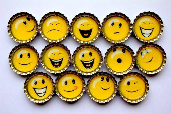 14 Emoticons bottle cap magnets Party favors by GoiaBoutique