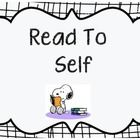 Complete poster set for your Daily 5 Charlie Brown theme classroom. The set contains posters for read to self, read to someone, Word Work, Work on ...