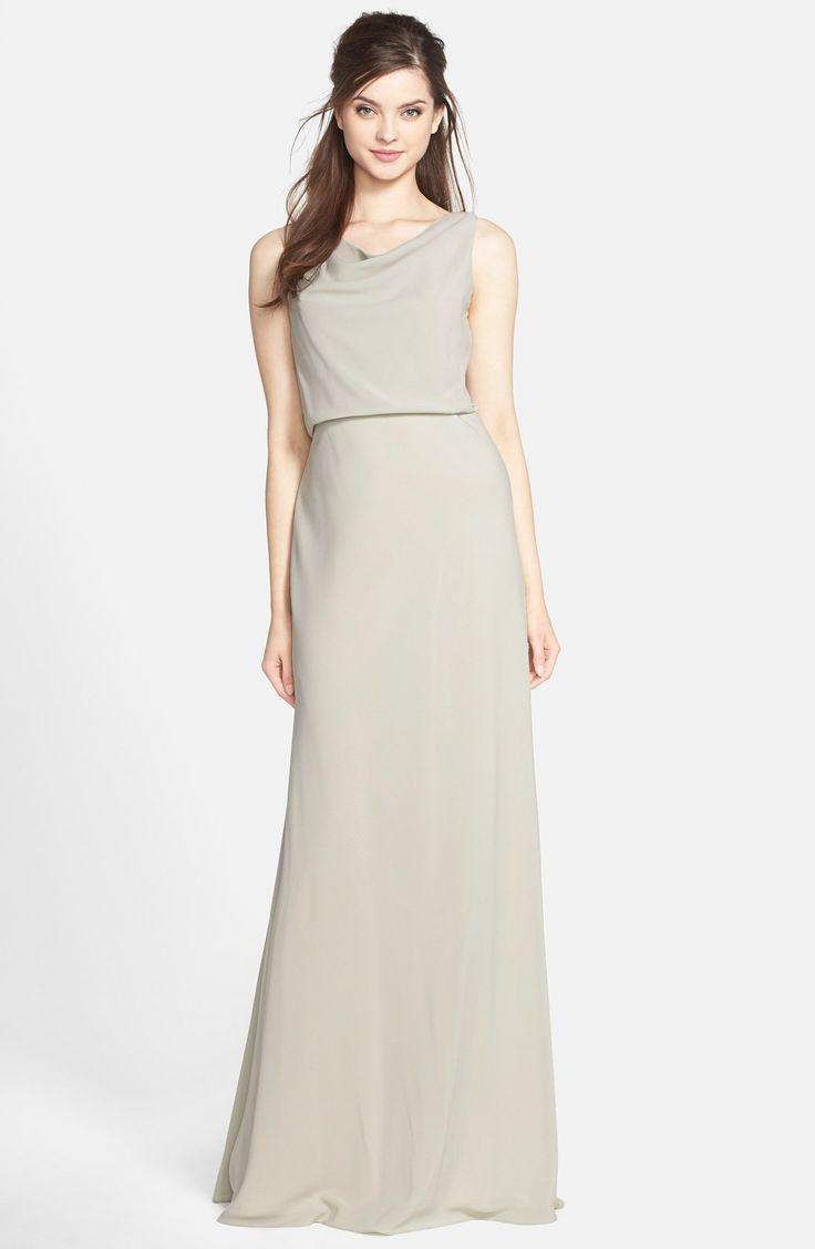Women S Jenny Yoo Drape Neck Crepe De Chine Gown Gowns