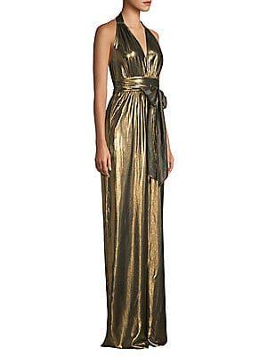 rachel zoe renee metallic halter jumpsuit dresses