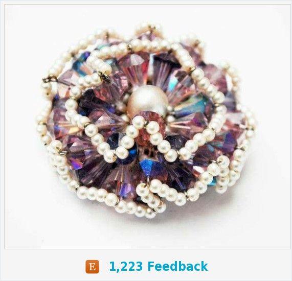 Vendome Brooch - Purple Crystal Rhinestone - faux pearl seed Bead - signed - Floral Atomic - Aurora borealis - Cluster bead pin https://www.etsy.com/serendipitytreasure/listing/576248011/vendome-brooch-purple-crystal-rhinestone?ref=listing_published_alert