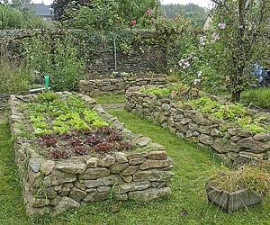 Stone raised beds.  (****I can use the rocks from the current retaining walls for the raised beds.)