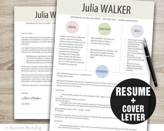 designer resume template cover letter by businessbranding on etsy 1500