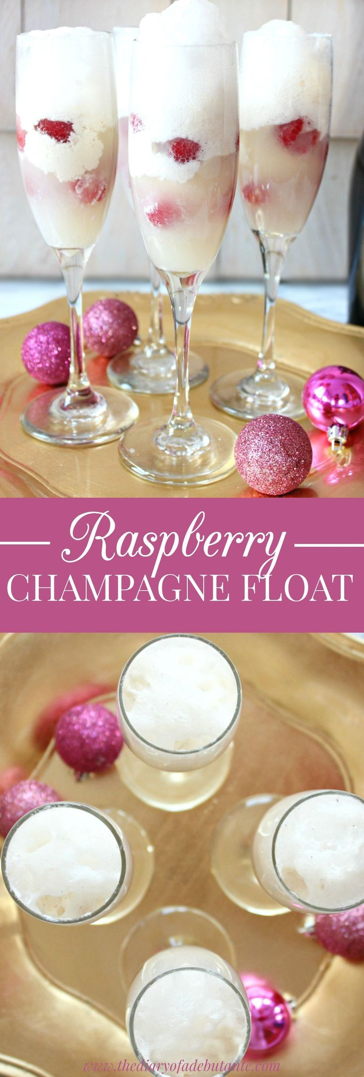 Raspberry Champagne Float. This sweet alcoholic cocktail recipe is perfect for both Christmas and New Year's parties. It could also be a signature drink idea for a wedding or black tie party. Just combine ice cream with raspberries and the champagne or prosecco of your choice! #Champagne