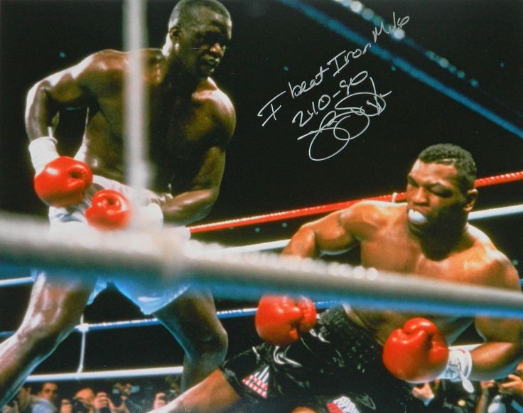 James Buster Douglas Signed Boxing Knocking Down Mike Tyson 16x20 Photo w/I Beat Iron Mike 2-10-90
