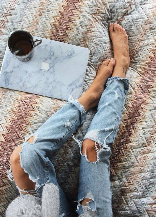 { ripped jeans & marble laptop cover }
