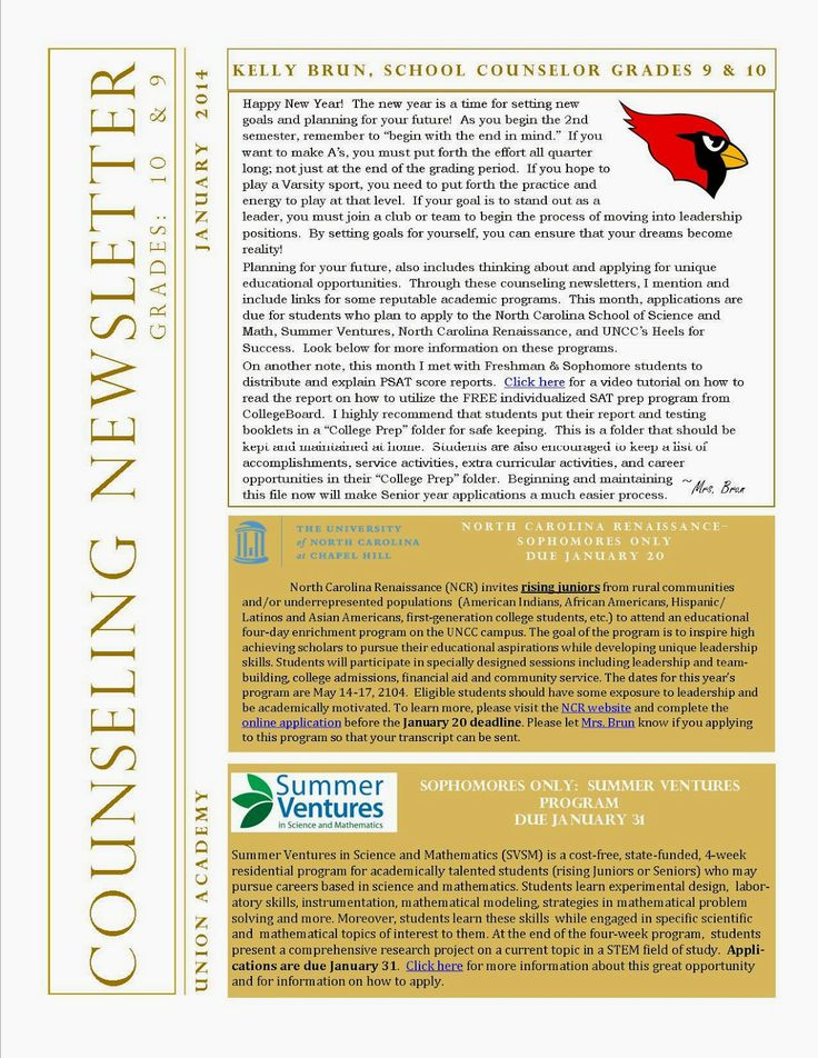 Freshmen Sophomore Counseling Newsletter- January with information about PSAT, Standardized testing, and NC academic opportunities
