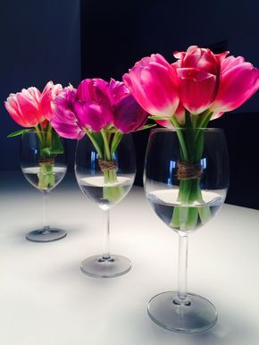 Diy Zu Ostern Tulpen Tischdeko Im Weinglas Florals Pinterest