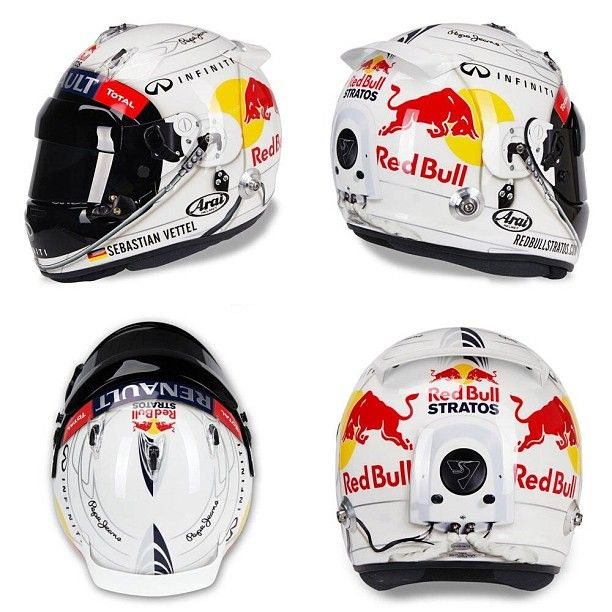 Vettel (Aus 2013) - Tribute helmet to Red Bull Stratos jumper Felix Baumgartner