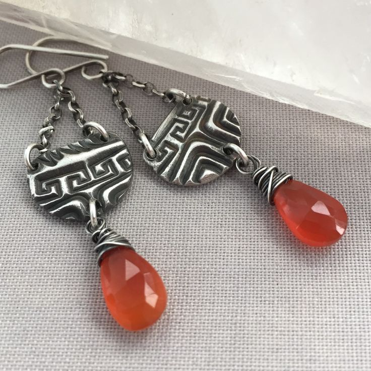 Oxidized PMC (fine silver) Earrings with Orange Carnelian.
