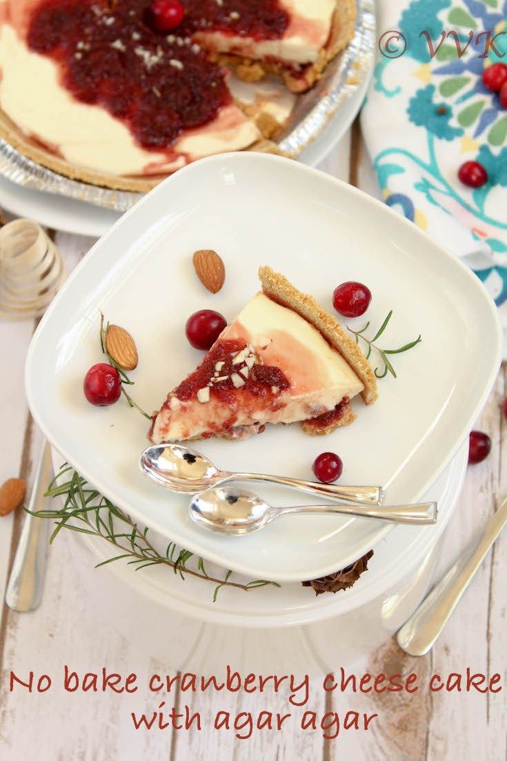 Easy and simple no bake cranberry sauce cheese cake prepare with home made cranberry sauce and the cheese cake is set using agar agar.