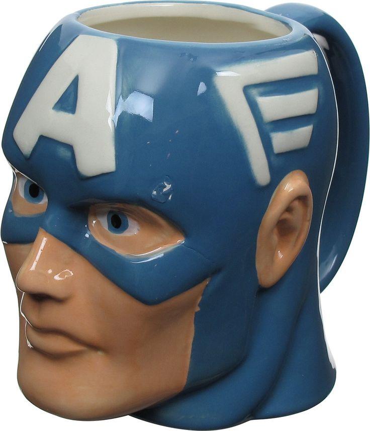 captain america head sculpted mug