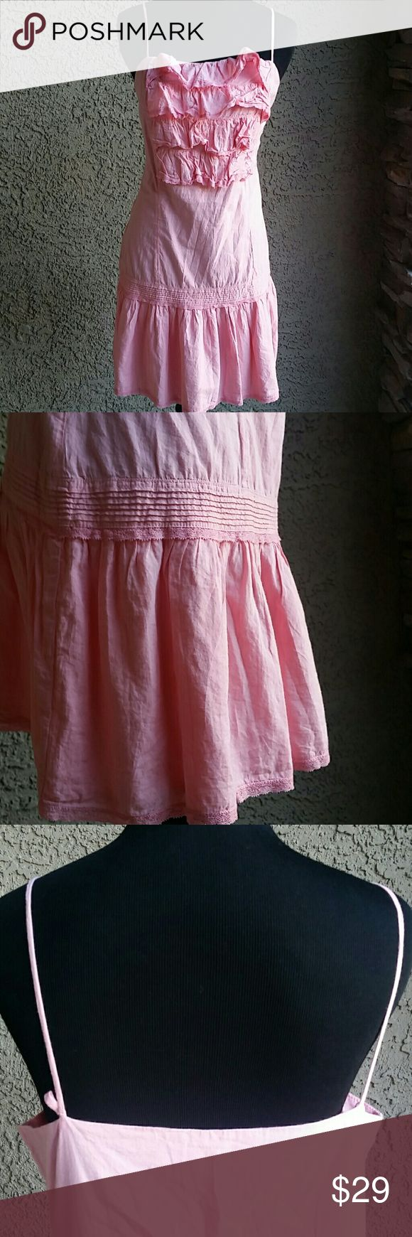 """Women's Juicy Couture Dress Sz L Never worn. Juicy Couture Pink Ruffle Sun Dress. Sz L Slip on. Straps are NOT adjustable So pretty. Armpit to armpit: 18.5"""" Armpit to bottom: 24.5"""" Back center to bottom: 24"""" Juicy Couture Dresses"""