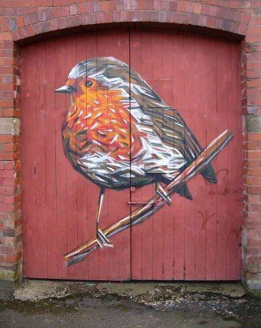 robin painted double doors
