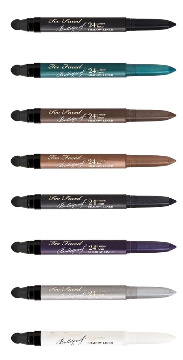 Too Faced Bulletproof Liner 24 Hour Eyeliner $22 each (Smitten Kitten Fall 2014) Available shades: •Blackout •Mink •Get Lucky •White Lie •Silver Lining •Dirt Bag •Purple Rain •Ooh & Aah